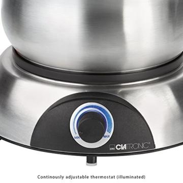 Clatronic FD 3516 / Fonduetopf aus Edelstahl für 8 Personen / Sandwichboden für optimale Wärmeverteilung / 8 Edelstahl Fonduegabeln, farblich markiert / Füllmenge max. 1,2 Liter / 1400 Watt - 2