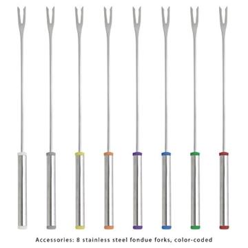 Clatronic FD 3516 / Fonduetopf aus Edelstahl für 8 Personen / Sandwichboden für optimale Wärmeverteilung / 8 Edelstahl Fonduegabeln, farblich markiert / Füllmenge max. 1,2 Liter / 1400 Watt - 4