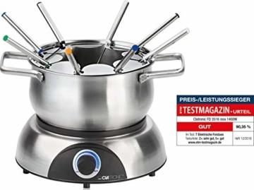 Clatronic FD 3516 / Fonduetopf aus Edelstahl für 8 Personen / Sandwichboden für optimale Wärmeverteilung / 8 Edelstahl Fonduegabeln, farblich markiert / Füllmenge max. 1,2 Liter / 1400 Watt - 1