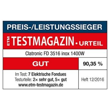 Clatronic FD 3516 / Fonduetopf aus Edelstahl für 8 Personen / Sandwichboden für optimale Wärmeverteilung / 8 Edelstahl Fonduegabeln, farblich markiert / Füllmenge max. 1,2 Liter / 1400 Watt - 5