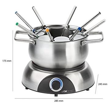 Clatronic FD 3516 / Fonduetopf aus Edelstahl für 8 Personen / Sandwichboden für optimale Wärmeverteilung / 8 Edelstahl Fonduegabeln, farblich markiert / Füllmenge max. 1,2 Liter / 1400 Watt - 7