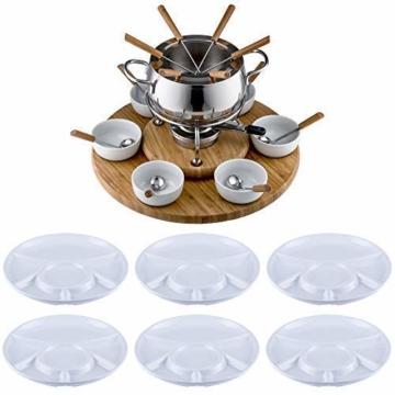 Edelstahl Fondue Set von Style-n cook mit 6 Keramiktellern